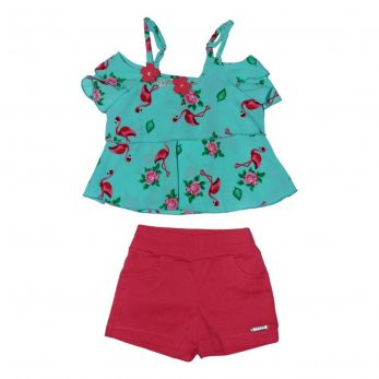 Conjunto shorts e Bata Flamingo Bordada