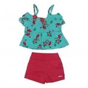Conjunto shorts e Bata Flamingo Bordada