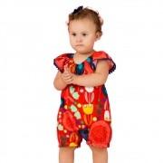 Macaquinho Bebê Feminino Meu Jardim Vermelho Precoce