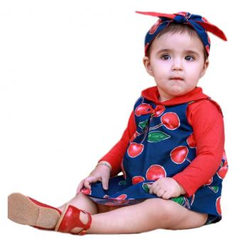 Vestido Bebê Cerejas