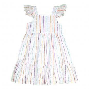 Vestido Bebê Listras Rafaela - Off-White
