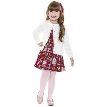 Vestido Infantil Manga Longa Bordo