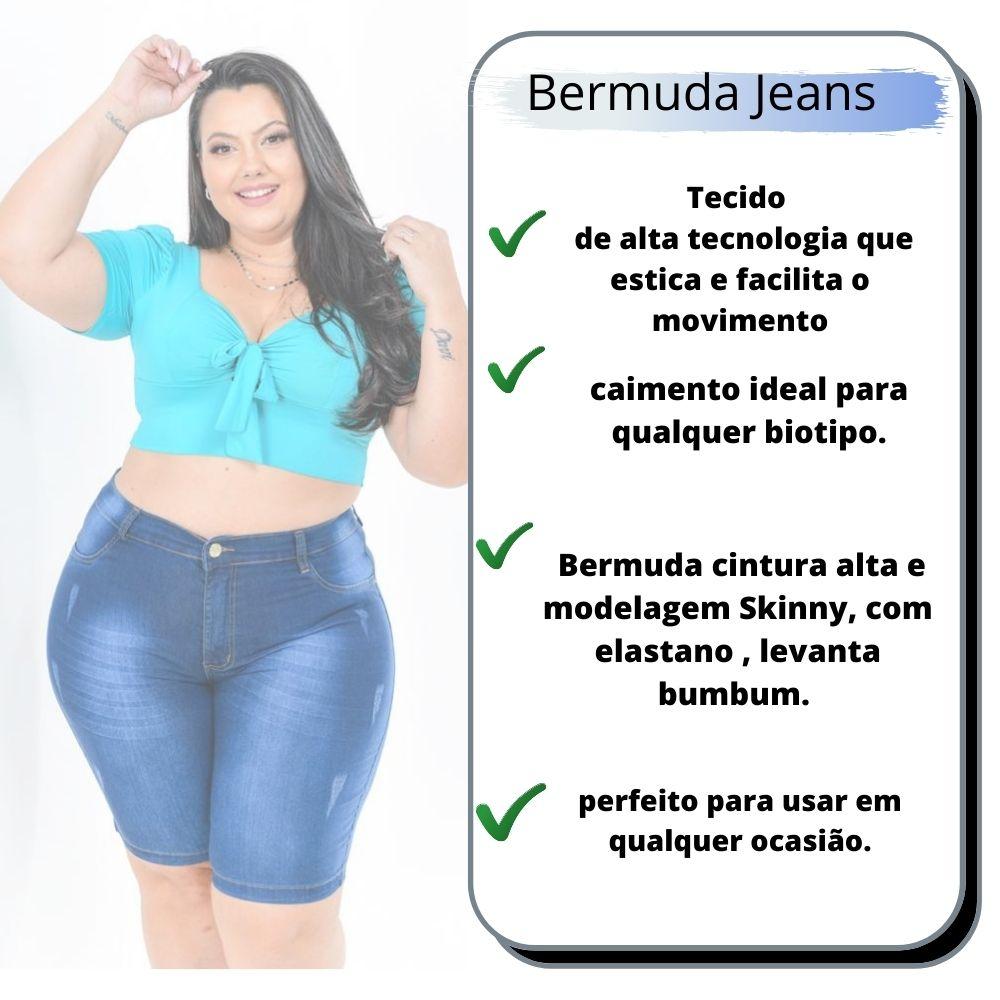 Bermuda Feminina Adulto Plus Size Cintura Alta