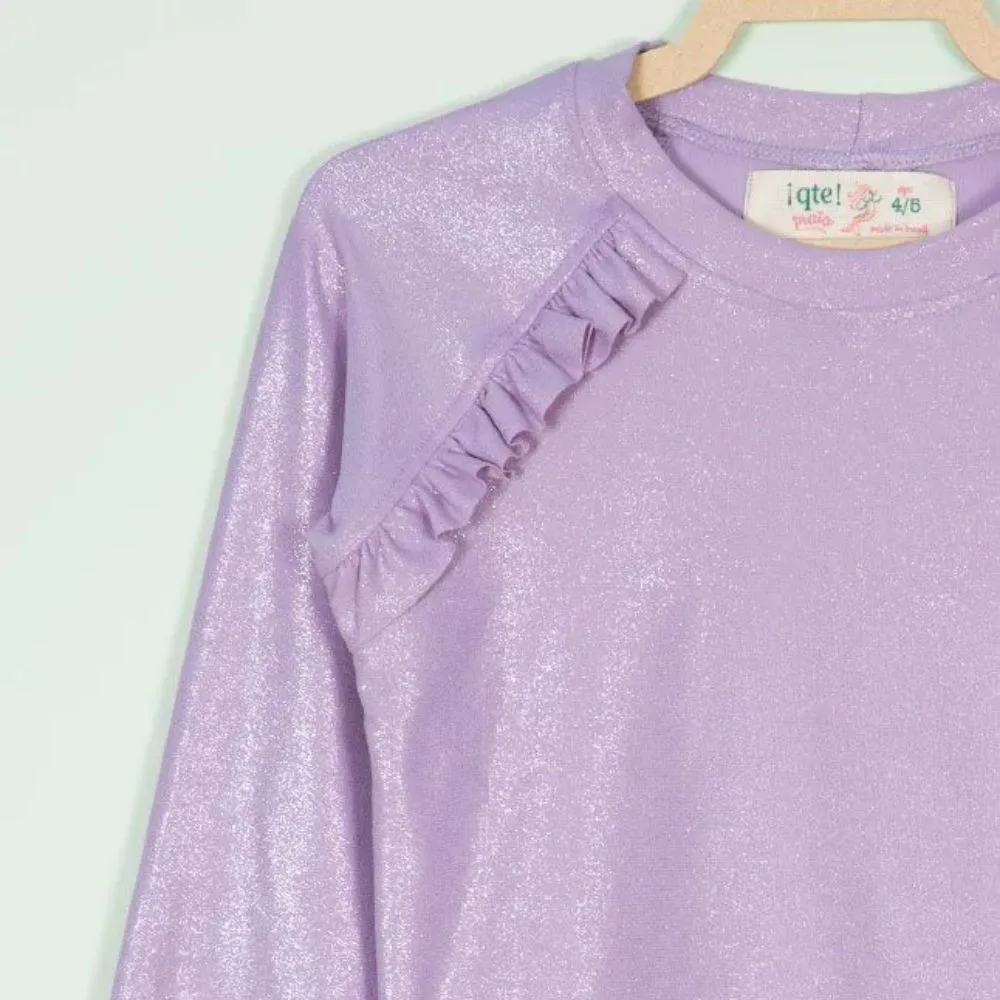 Blusa Infantil Proteção Solar Feminina Lilás Brilho UV80