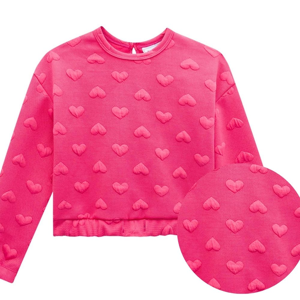 Blusão Boxy Infantil Manga Longa e Shorts Corações