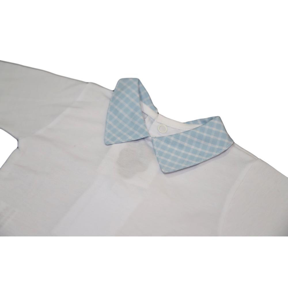 Body  Manga Longa Gola Xadrez Azul e Branco -Tamanho: RN