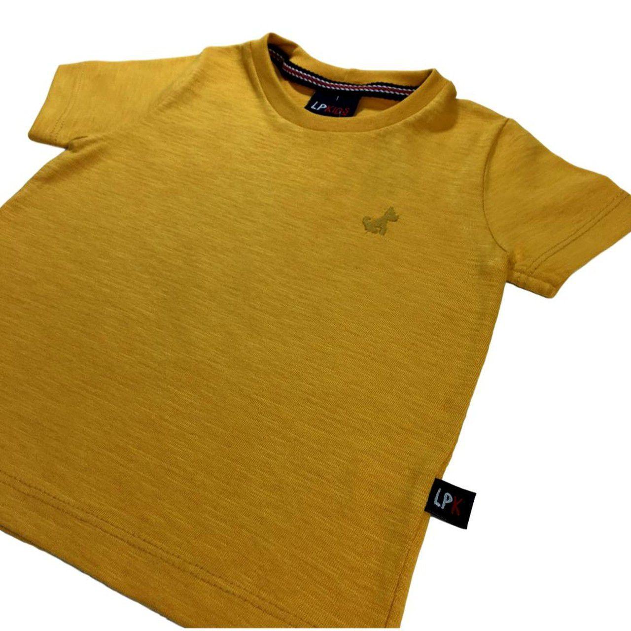 Camiseta Infantil Mostarda 100% Algodão
