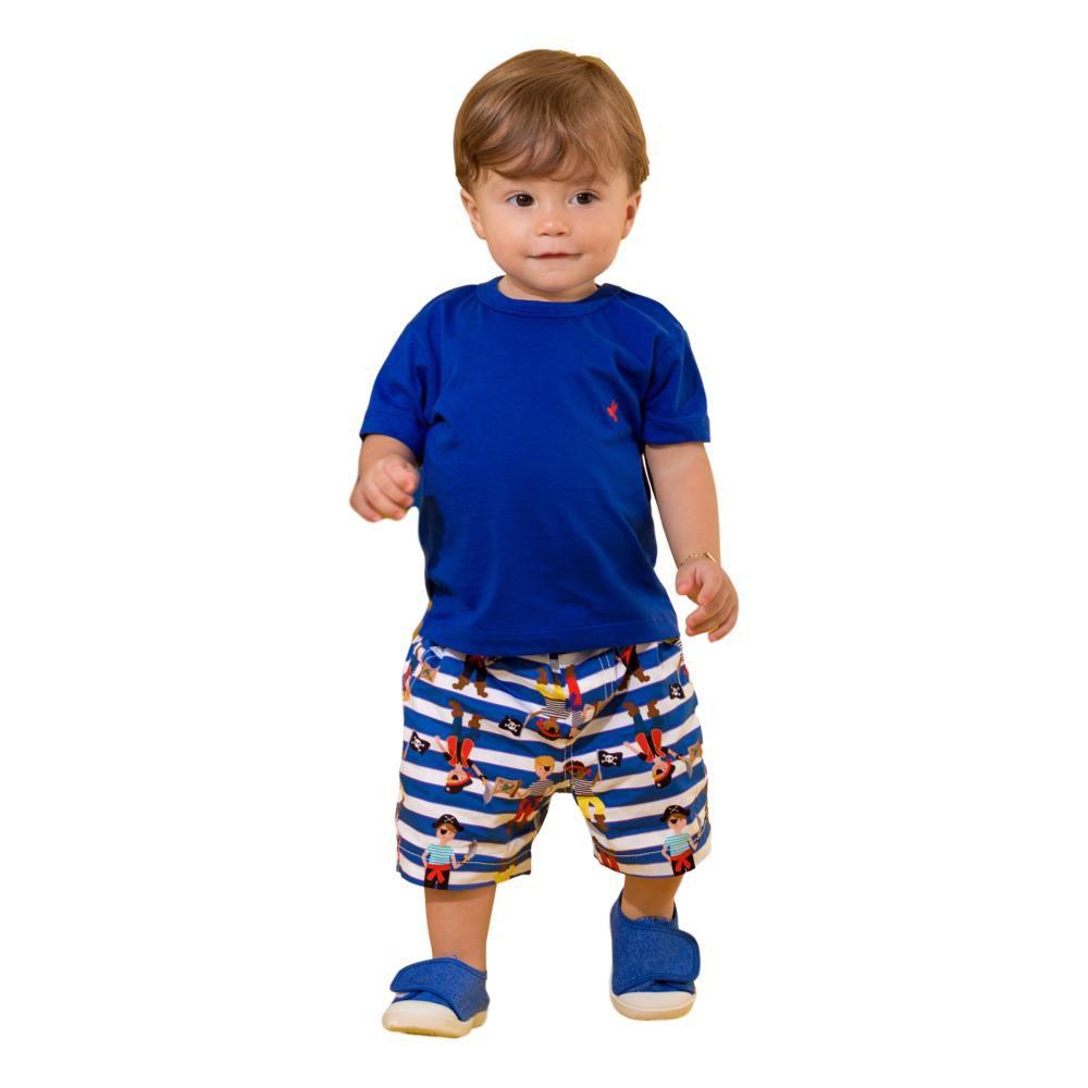 Conjunto Bebê Precoce Camiseta Azul e Bermuda Piratas