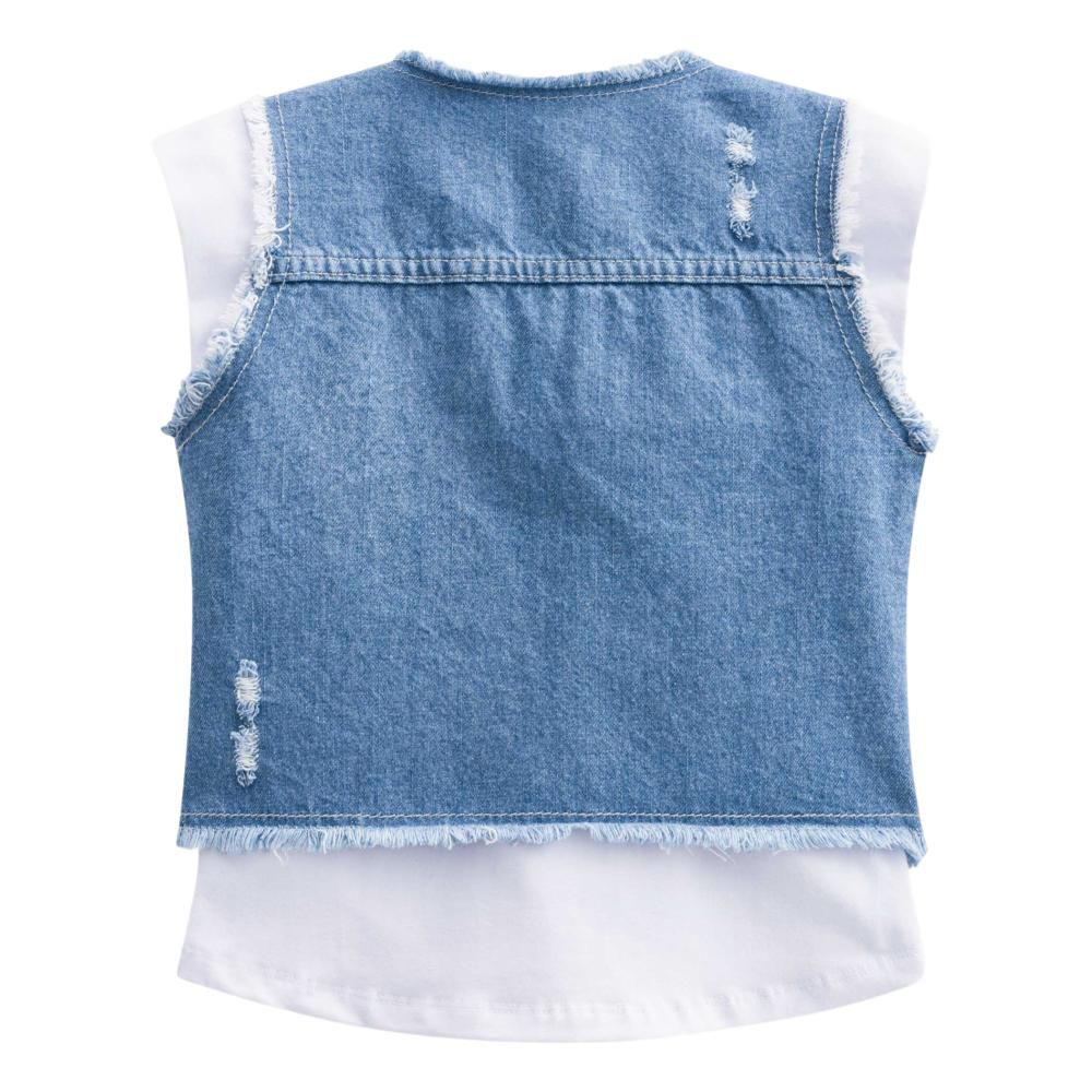 Conjunto Infantil Feminino Kukie Blusa, Saia e Colete