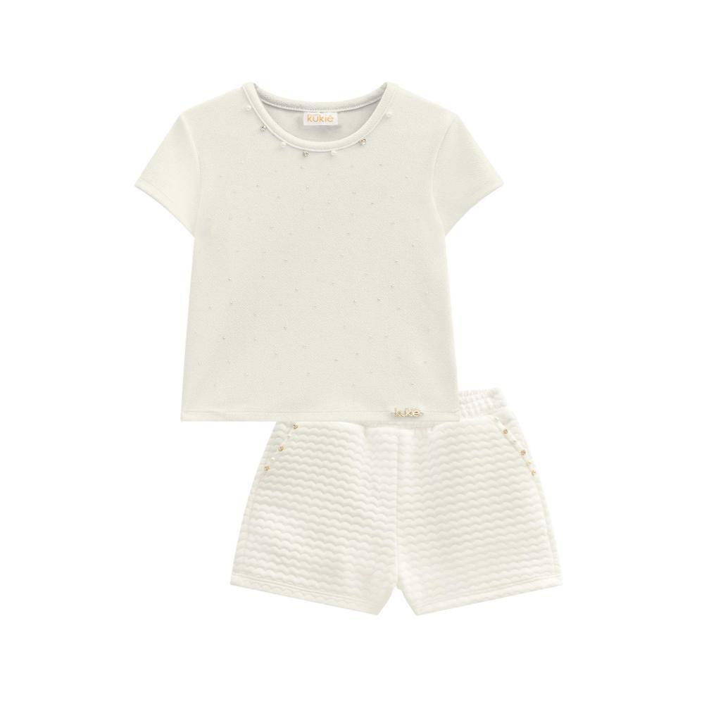 Conjunto Boxy e Shorts em Jacquard Off- White