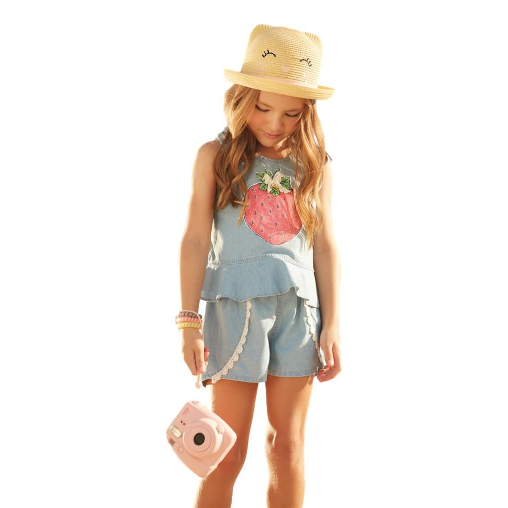 Conjunto Boxy Regata e Short em Jeans