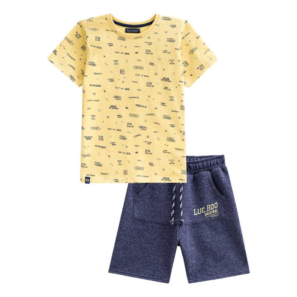 Conjunto Camiseta Amarela e Bermuda