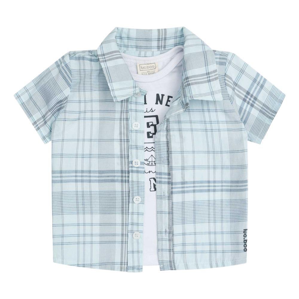 Conjunto Camiseta, Bermuda e Camisa Listrada