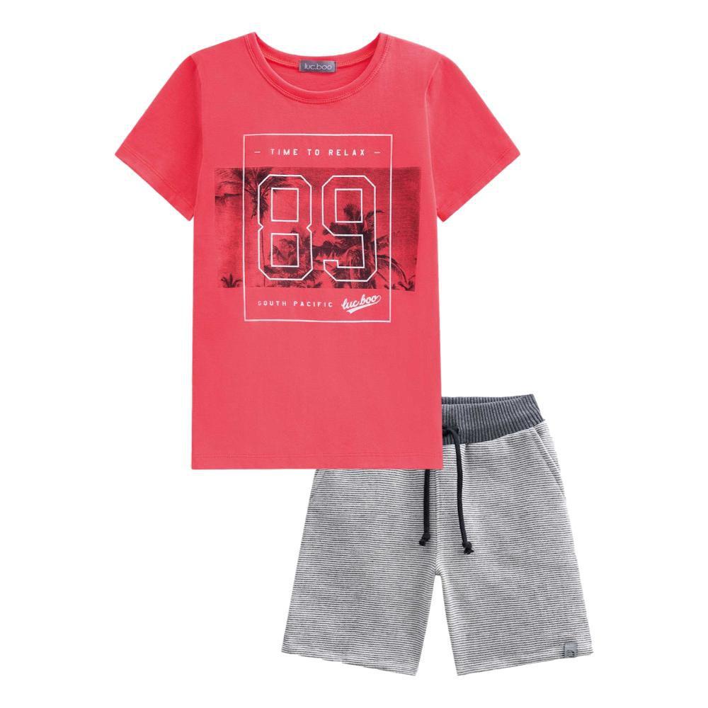 Conjunto Camiseta Coral e Bermuda Listrada