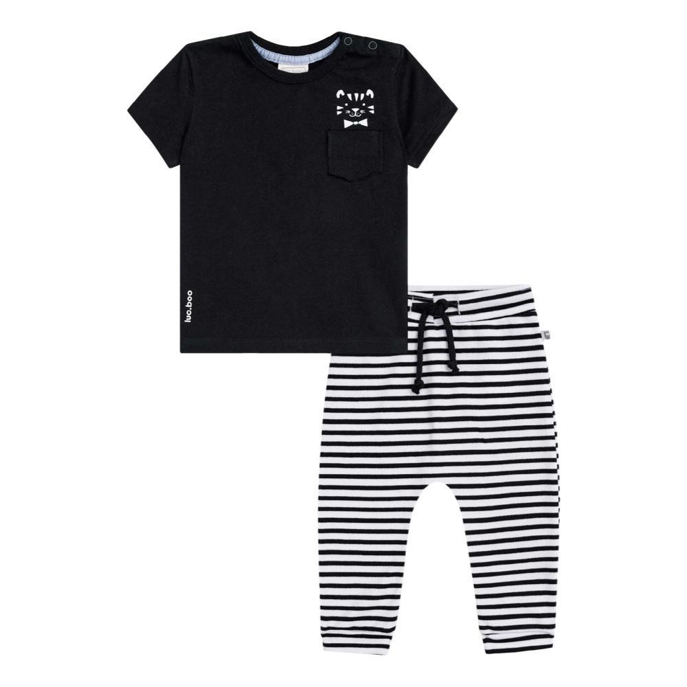 Conjunto Camiseta Meia Malha e Calça Listrada