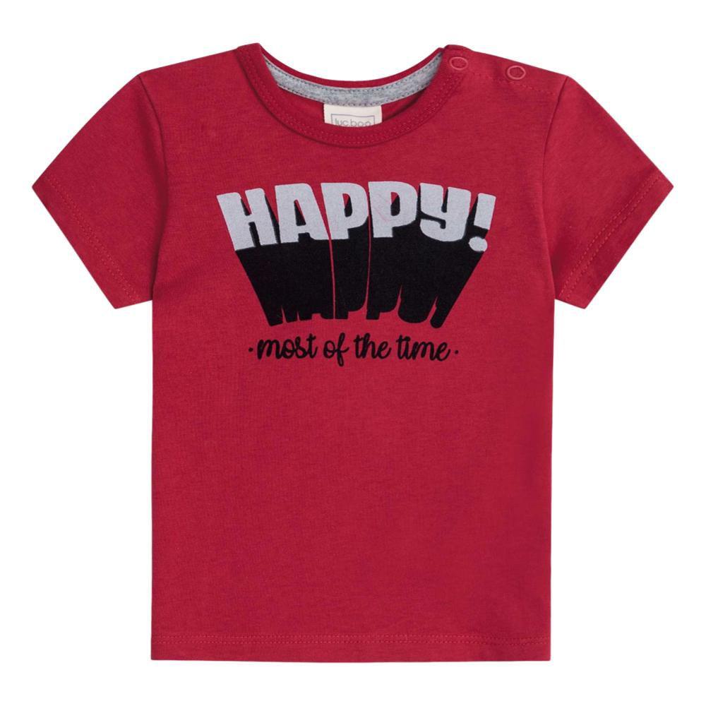 Conjunto Camiseta Vermelha e Bermuda Listrada