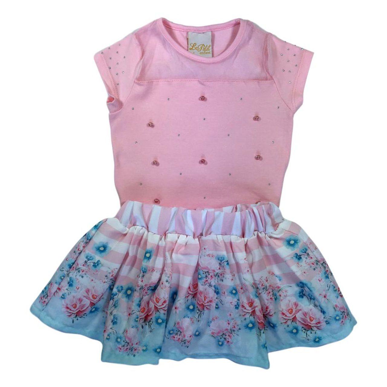 Conjunto Infantil Blusa Cotton  e Saia Shorts Estampado