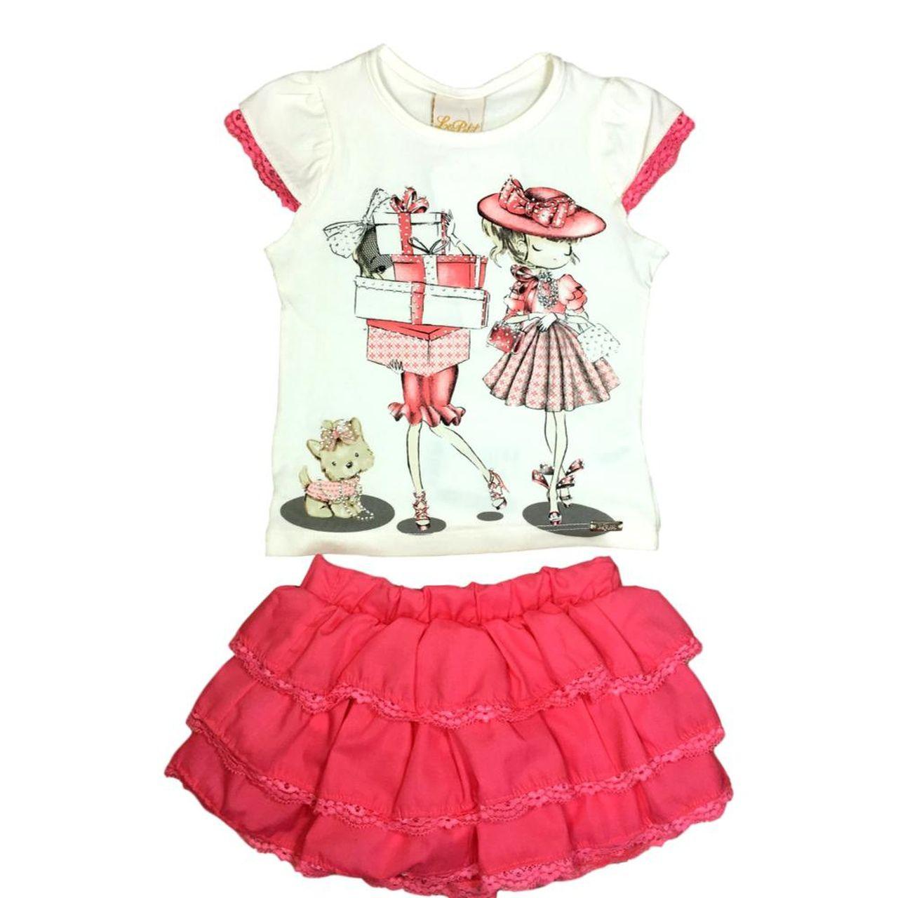 Conjunto Infantil Blusa Cotton e Saia-Shorts Tricoline