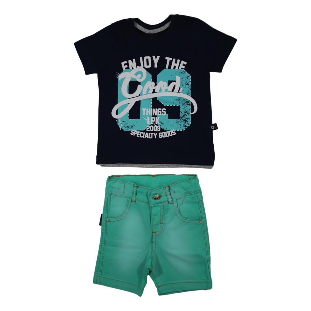 Conjunto Infantil Camiseta e Bermuda Sarja Cós Ajustável