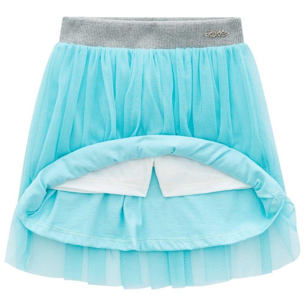 Conjunto Infantil Feminino Blusa Pompom e Saia de Tule