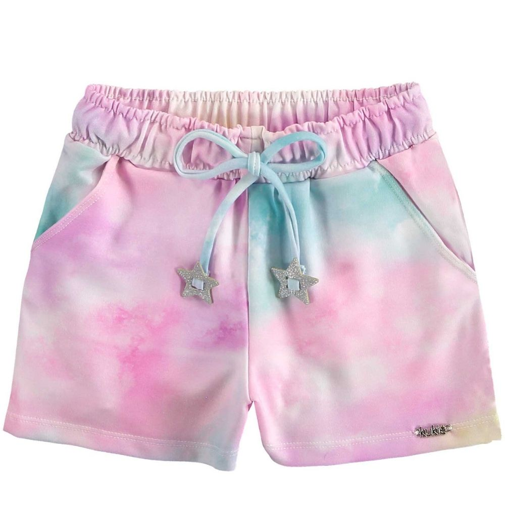 Conjunto Infantil Feminino blusinha boxy e short Tie-Dye