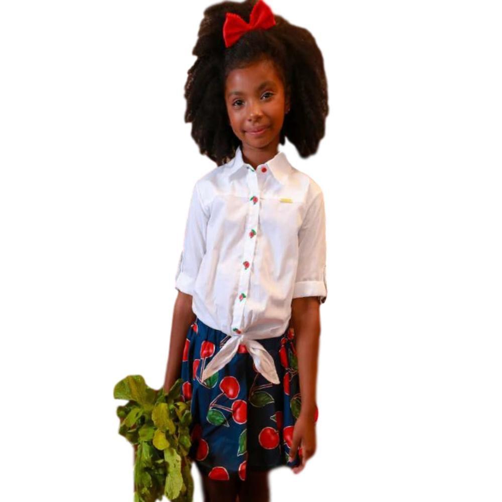 Conjunto Infantil Feminino Precoce Saia Balonê Cereja e Branco