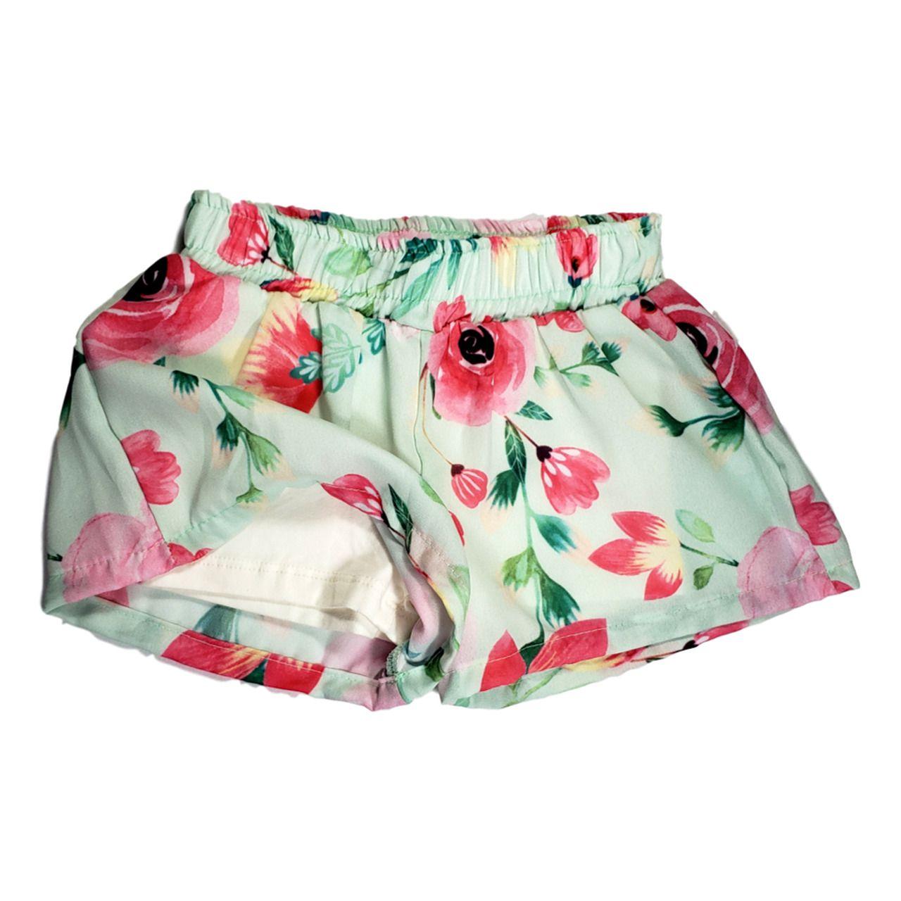 Conjunto Infantil Menina Bata Jeans Claro com Shorts Estampado