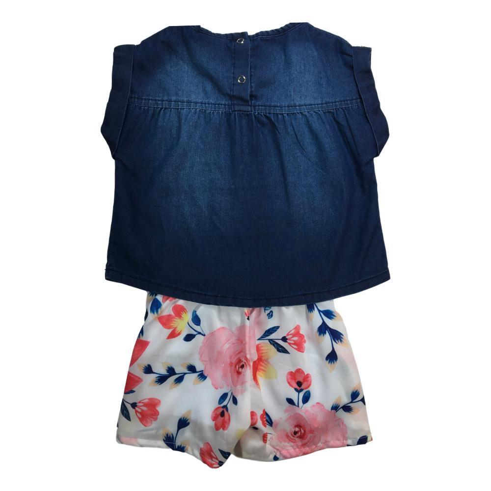 Conjunto Infantil Menina Bata Jeans Escuro e Shorts Estampado