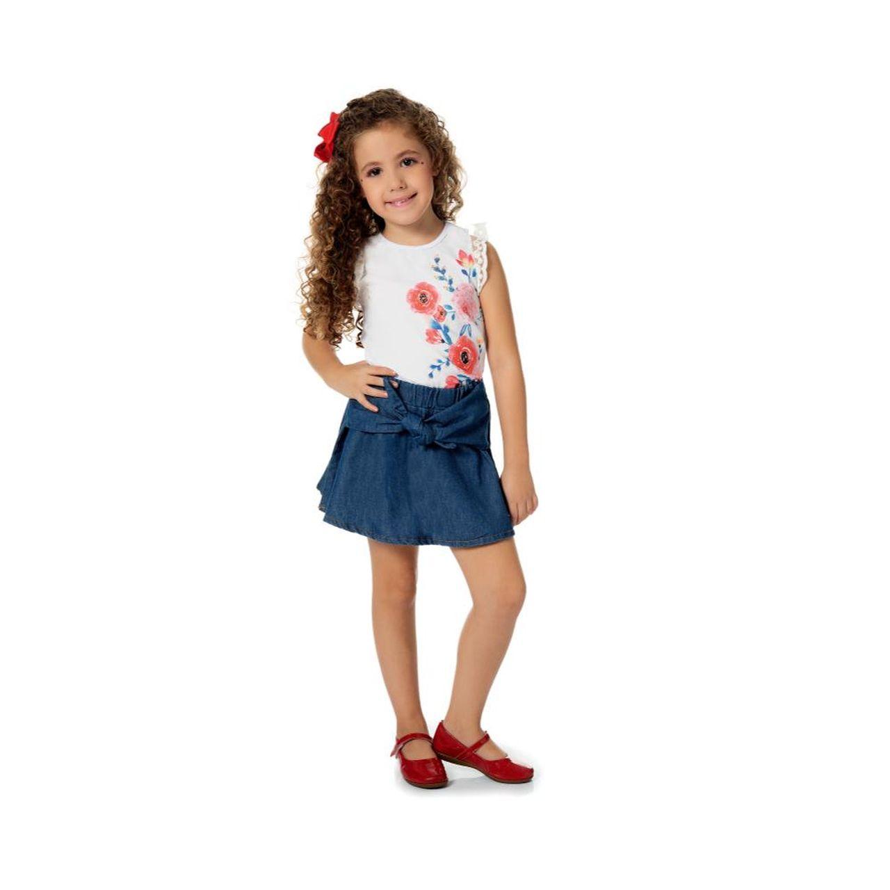 Conjunto Infantil Menina Blusa com Saia-Shorts Jeans