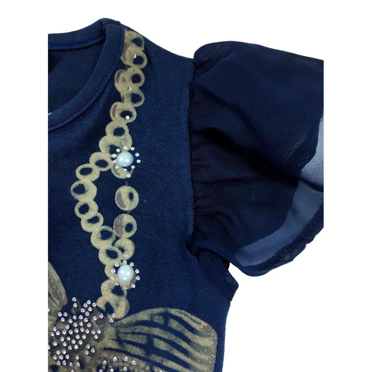 Conjunto Infantil Blusa Cotton e Chiffon com Shorts  Estampado