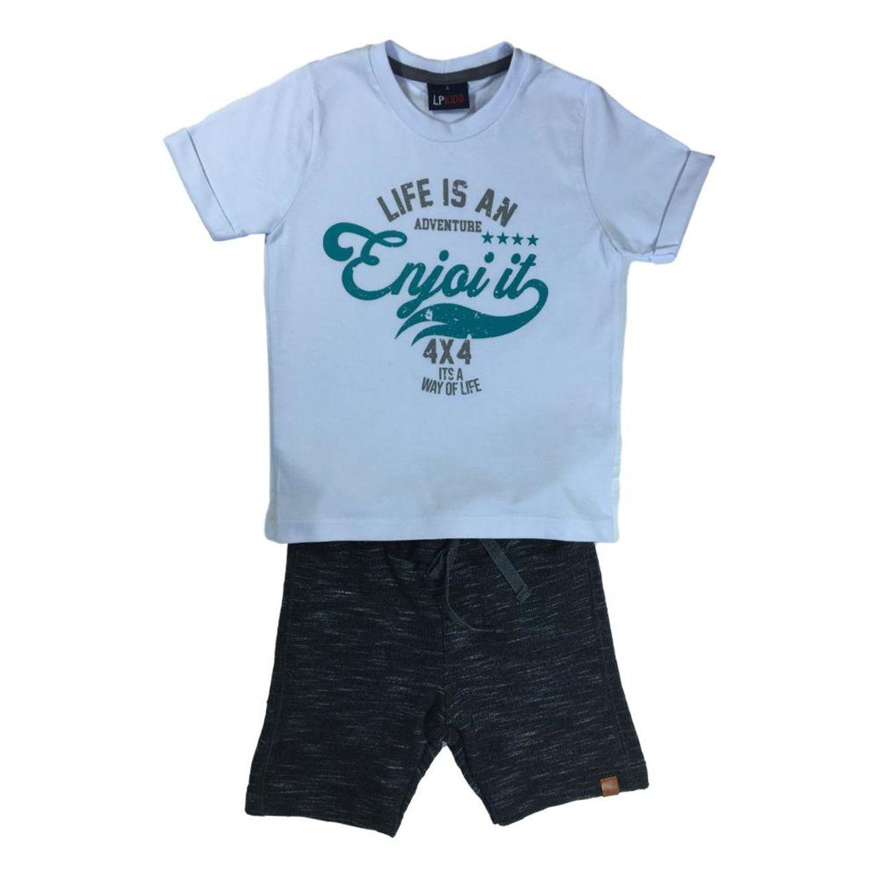 Conjunto Infantil Menino Camiseta e Bermuda Moletom Maquinetado