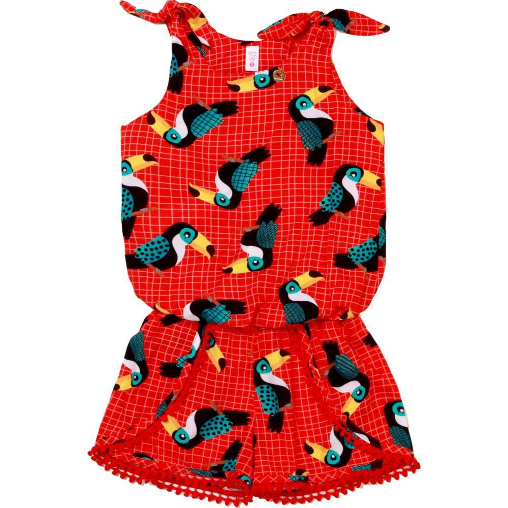 Conjunto Menina Amarração Tucano Vermelho