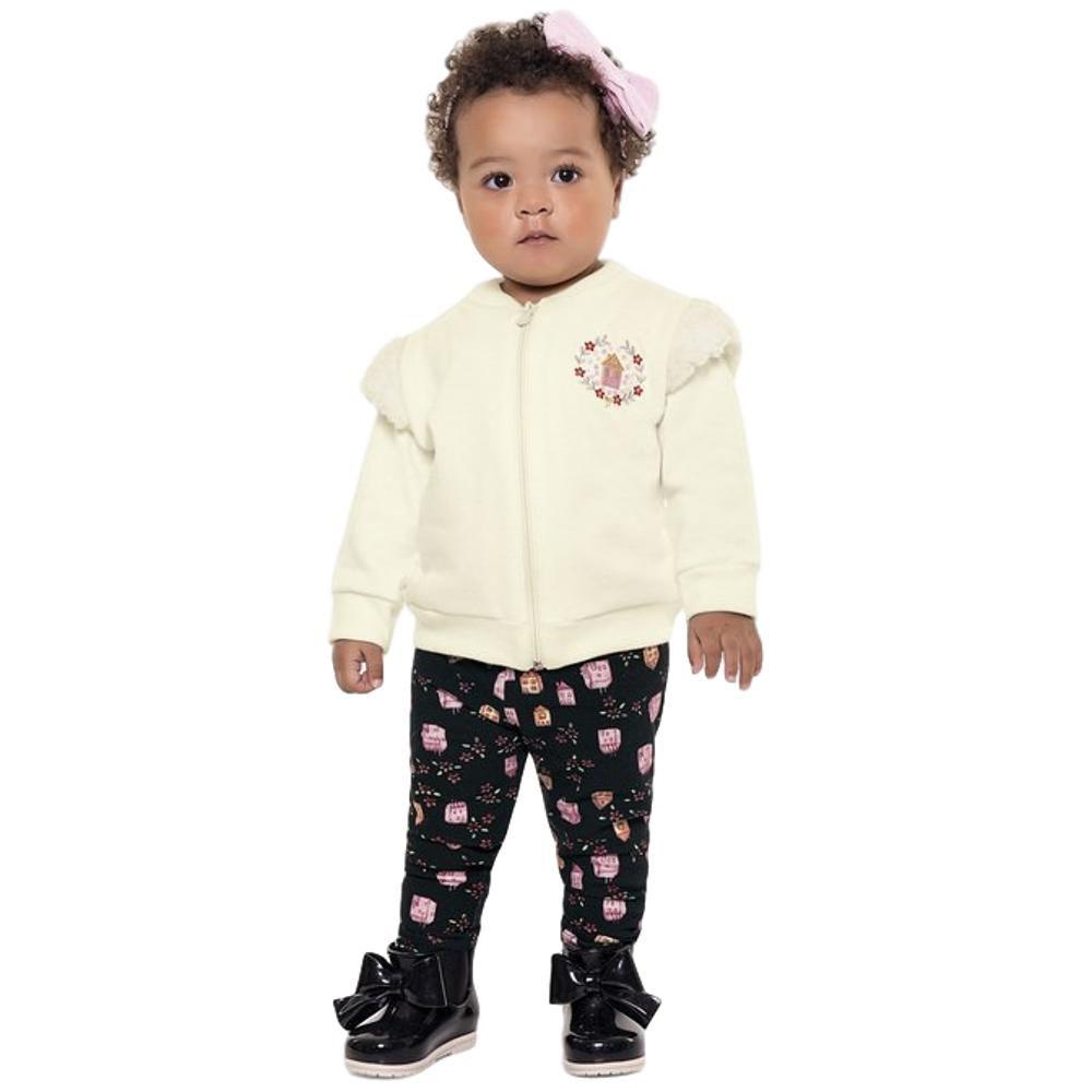 Conjunto Moletom Bebê Marfim e Preto