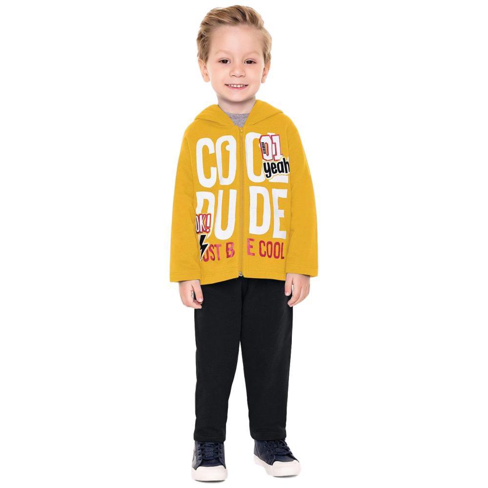 Conjunto Moletom Infantil Amarelo e Preto
