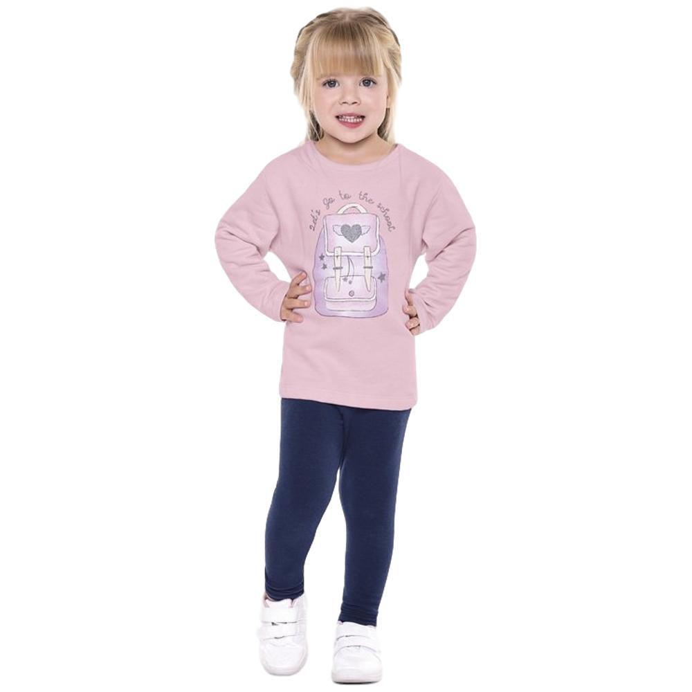 Conjunto Moletom Infantil com Leagging Rosa e Azul