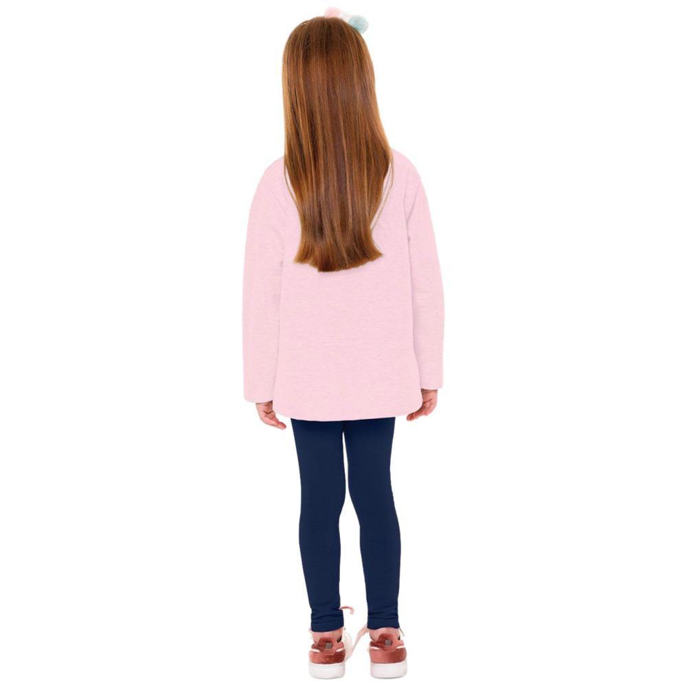 Conjunto Moletom Infantil Legging Rosa e Marinho