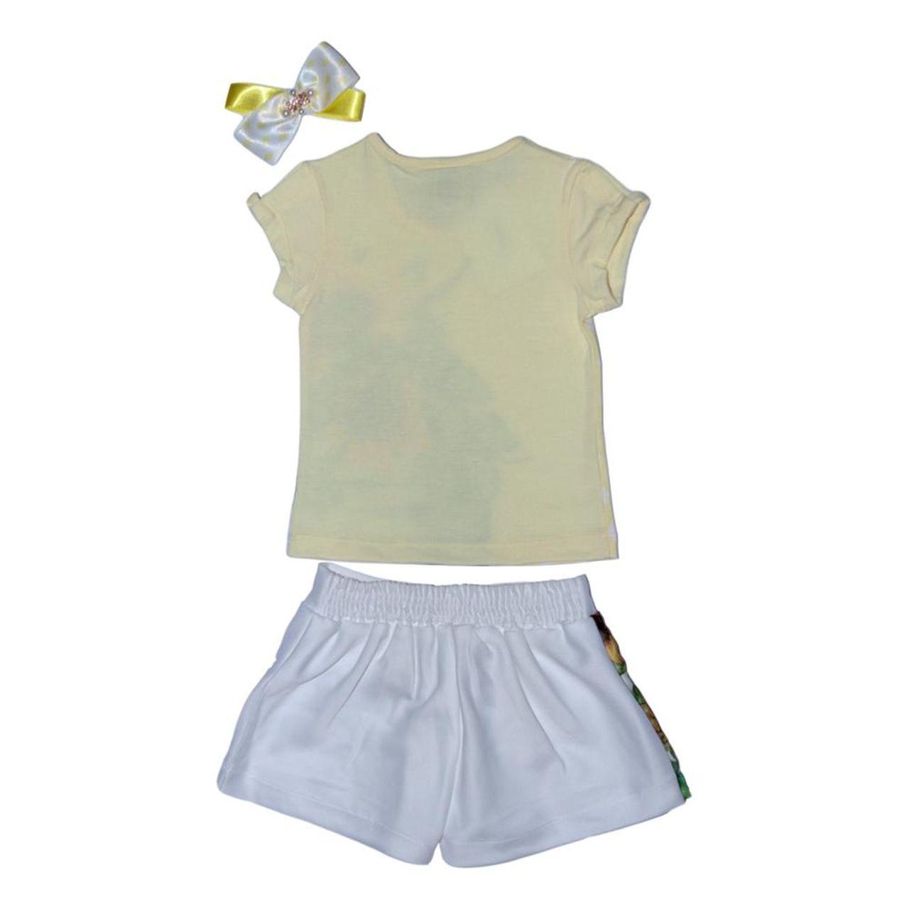 Conjunto Saia Shorts Transpassado Estampa Girassol