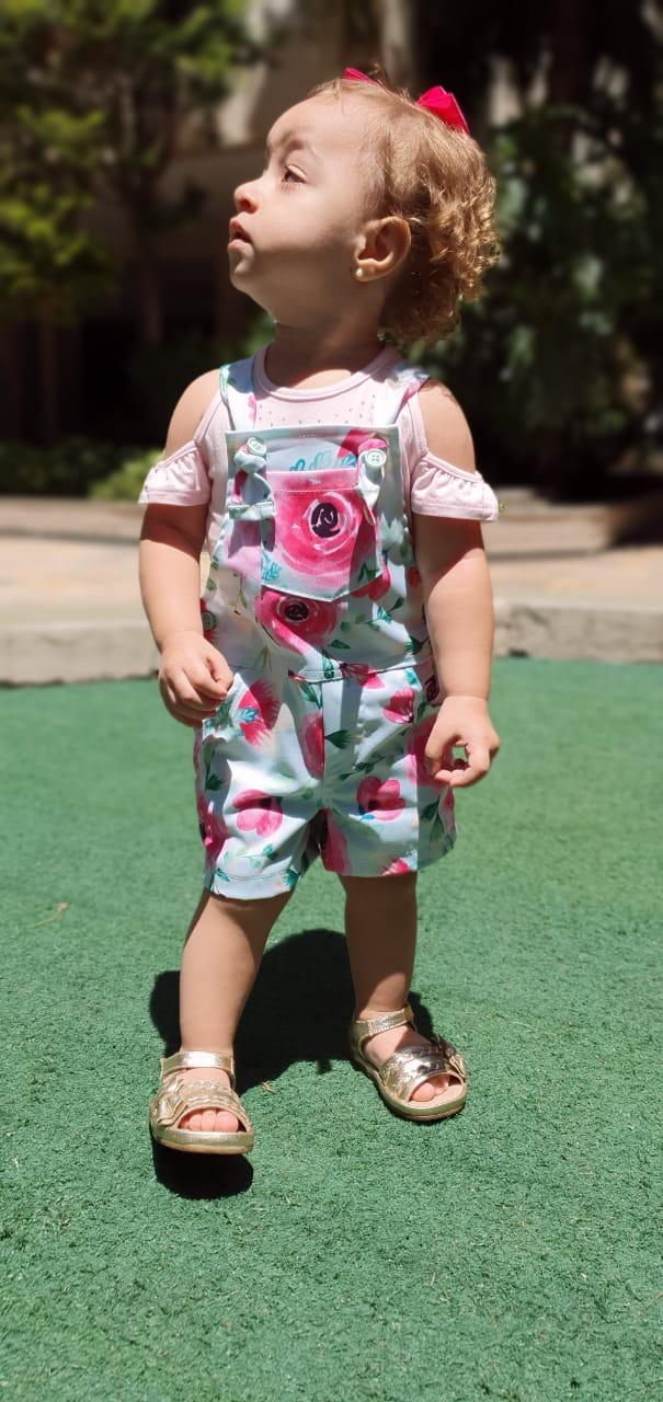 Jardineira Infantil Menina de Sarja Verde e Blusa de Viscose