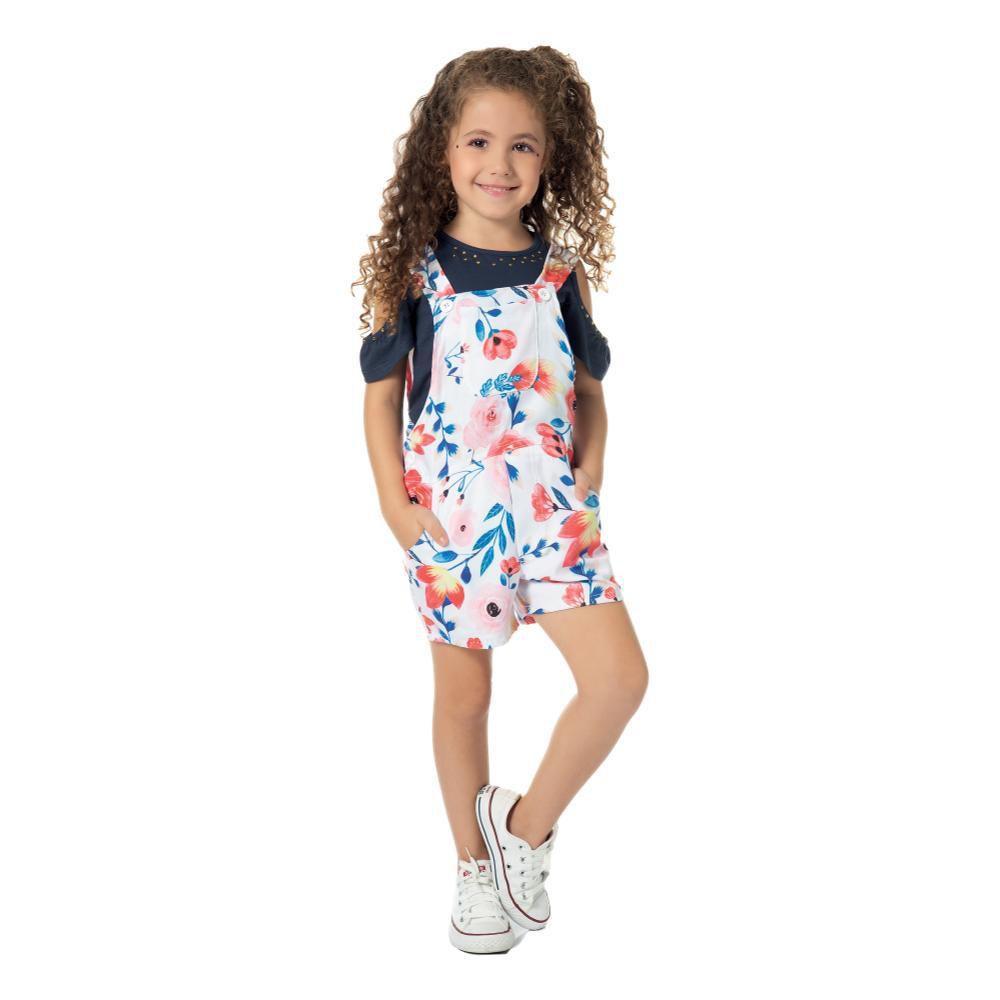 Jardineira Infantil Menina Sarja Branco e Blusa Viscose