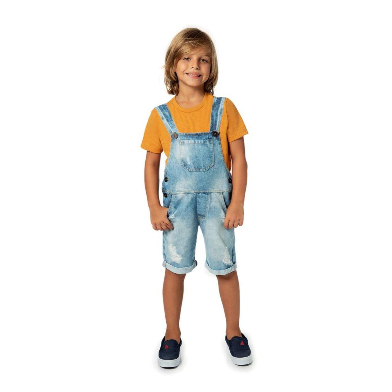 Jardineira Infantil Menino Jeans