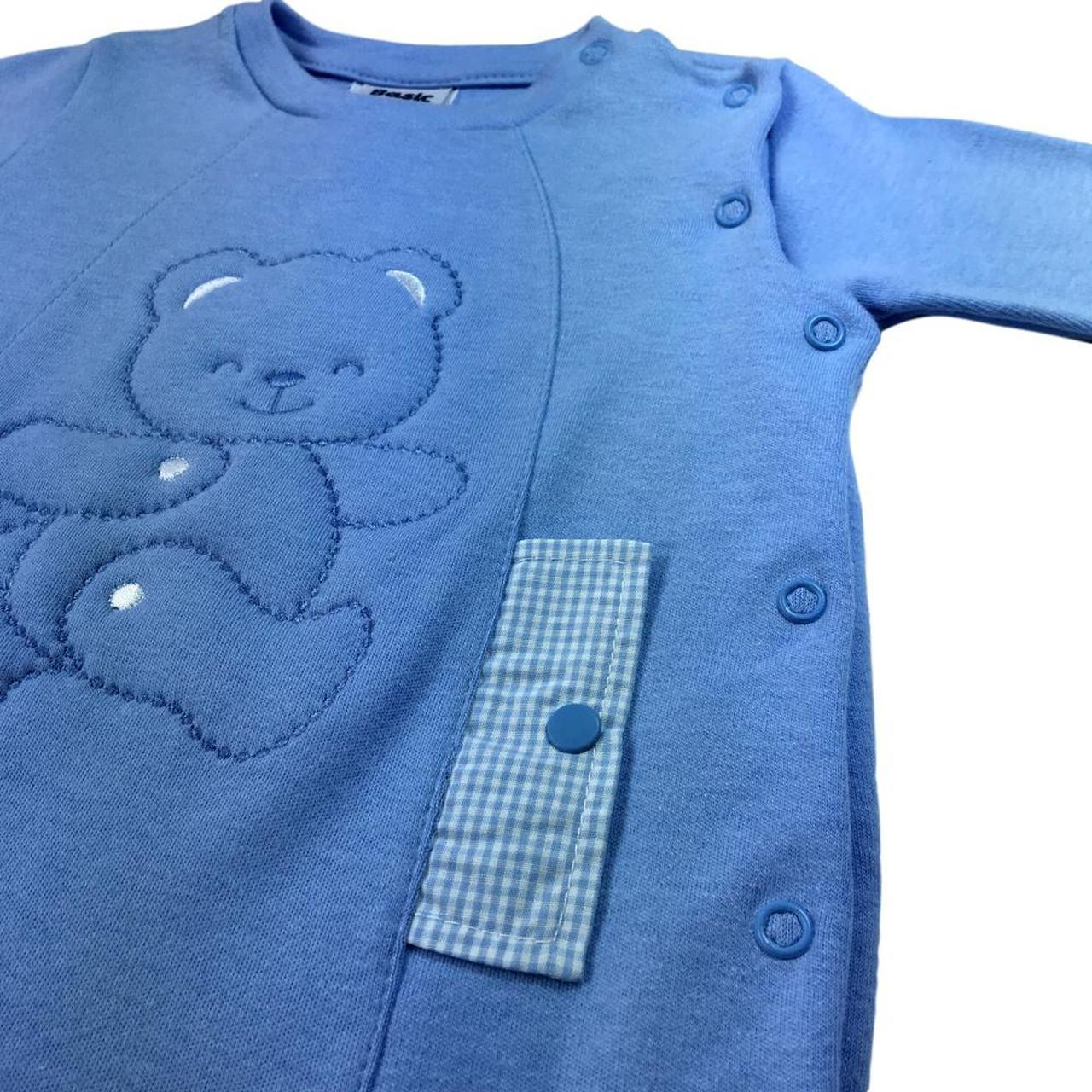 Macacão  Baby Fashion Ursão Azul Anil