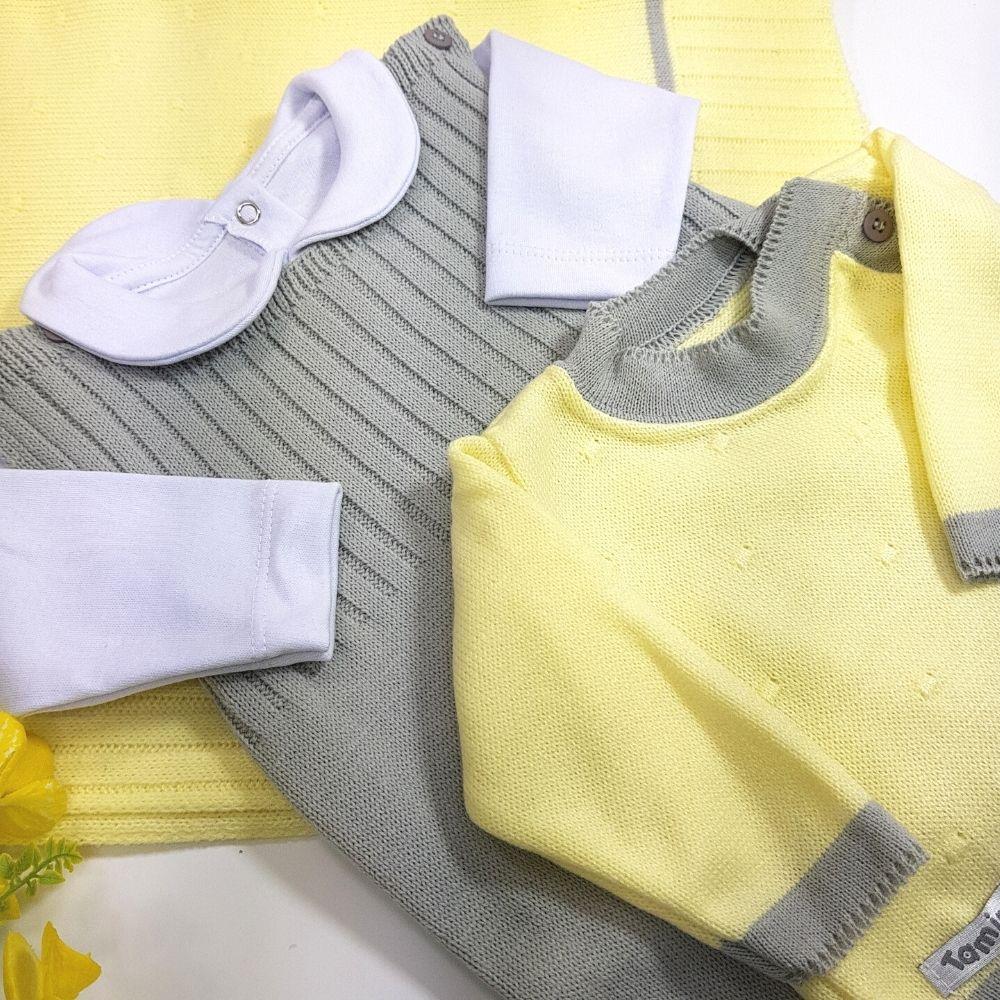 Saída De Maternidade Amarelo e Cinza  Tricô Luxo 4 Peças