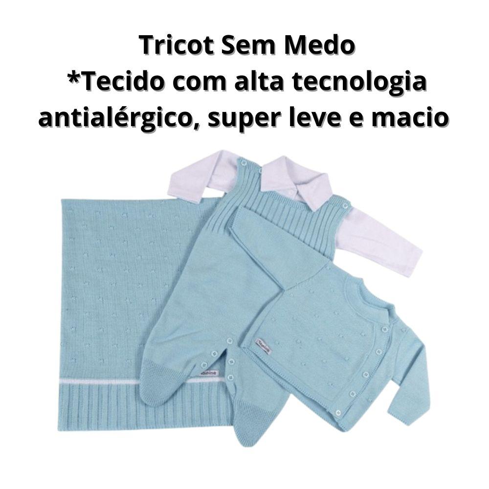 Saída de Maternidade Menino Azul Tricô Kit 4 Peças Luxo