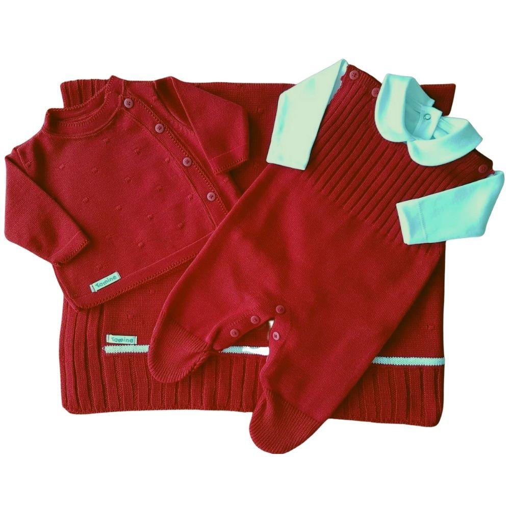 Saída De Maternidade Vermelho e Branco Tricô Luxo 4 Peças