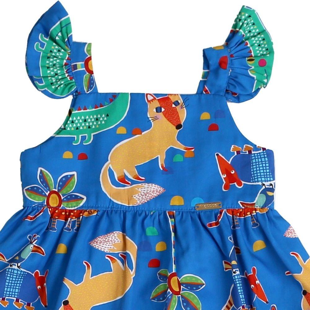 Vestido Bebê Bichinhos Azul