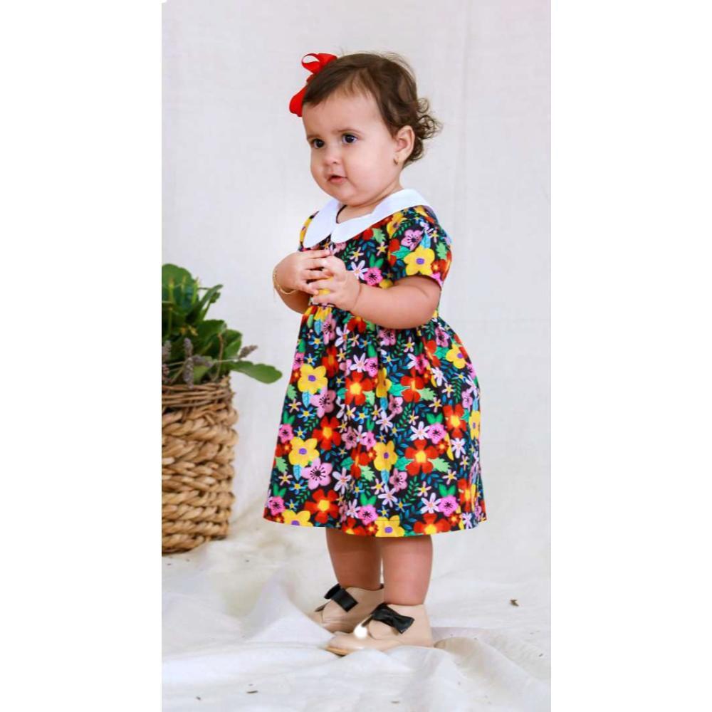 Vestido Bebê Flores Aquarelada