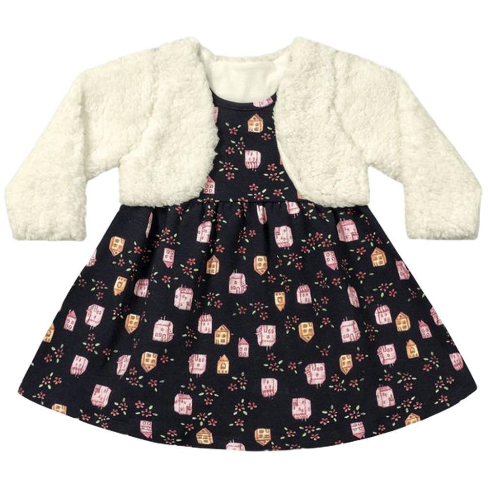 Vestido Bebê Inverno com Bolero Preto