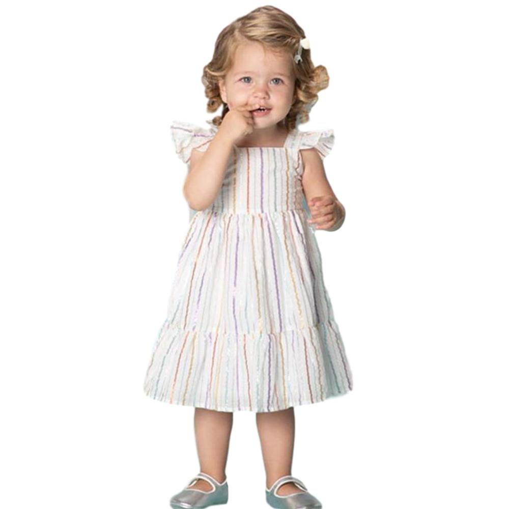 Vestido Bebê Menina Listras Cintilantes