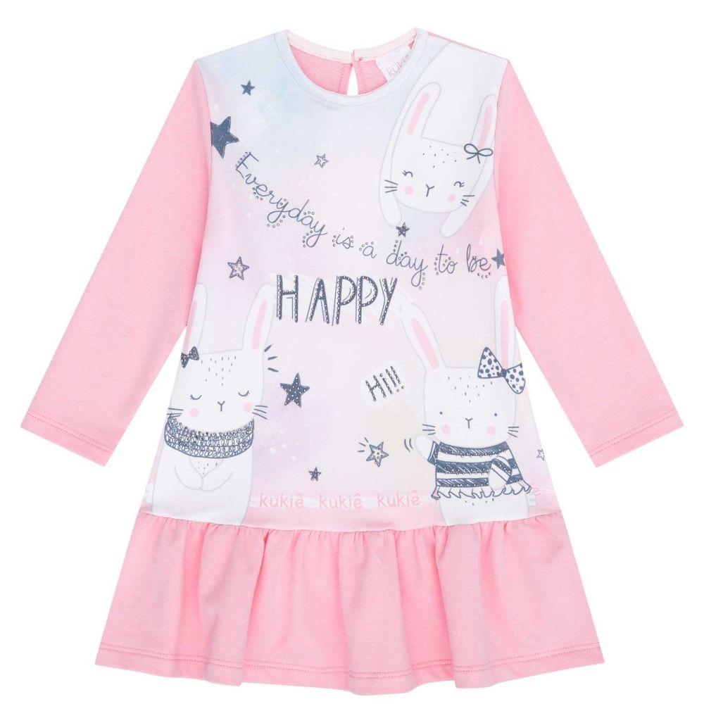 Vestido Bebê Manga Longa Dia de Ser Feliz
