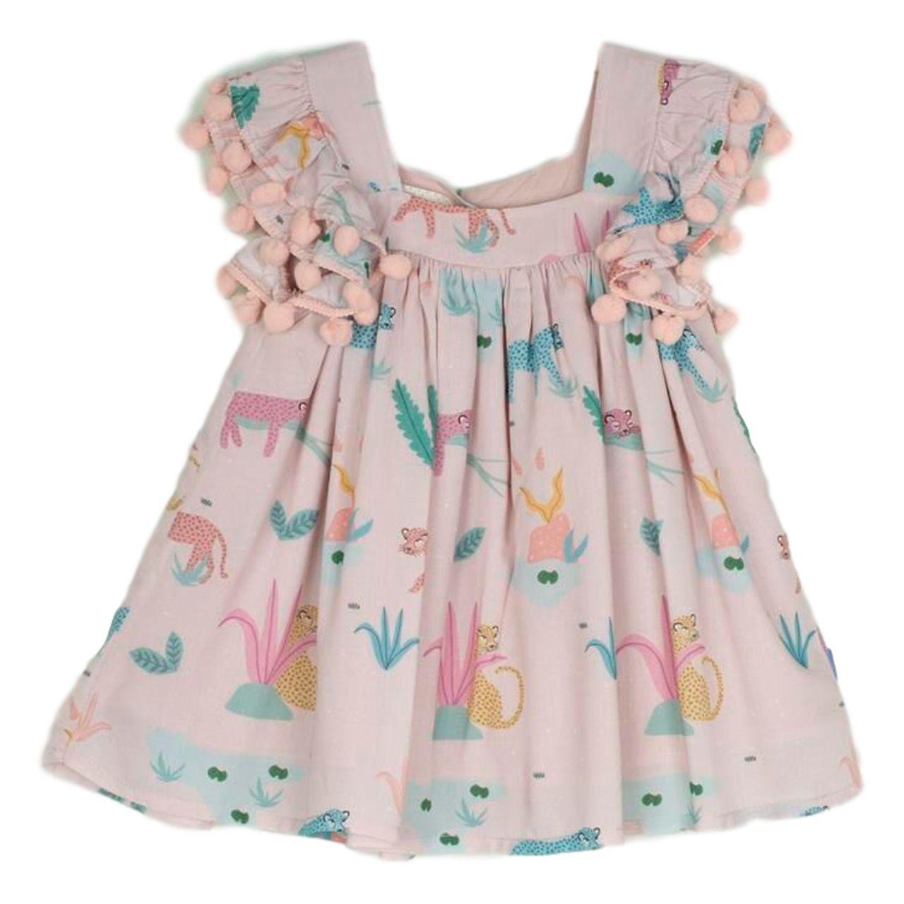 Vestido Bebê Menina Rose com Pompons